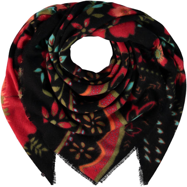 Red Floral Shawl
