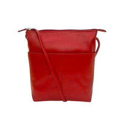 RED LEATHER BAG W/ZIP