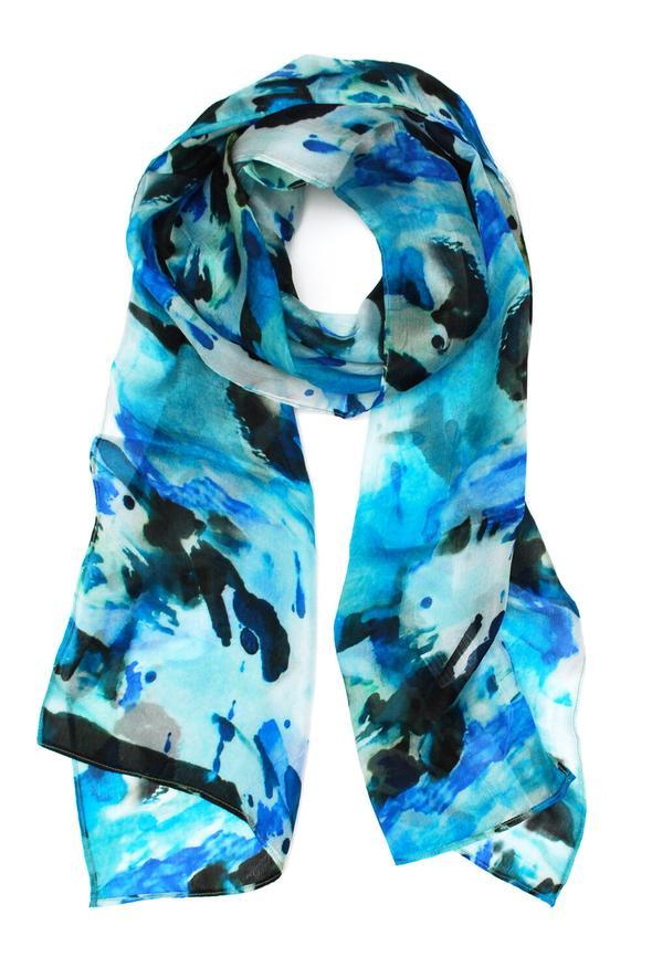 Blue Abstract Silk Scarf