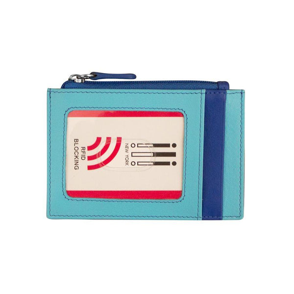 Blue Mix Leather Credit Card Holder