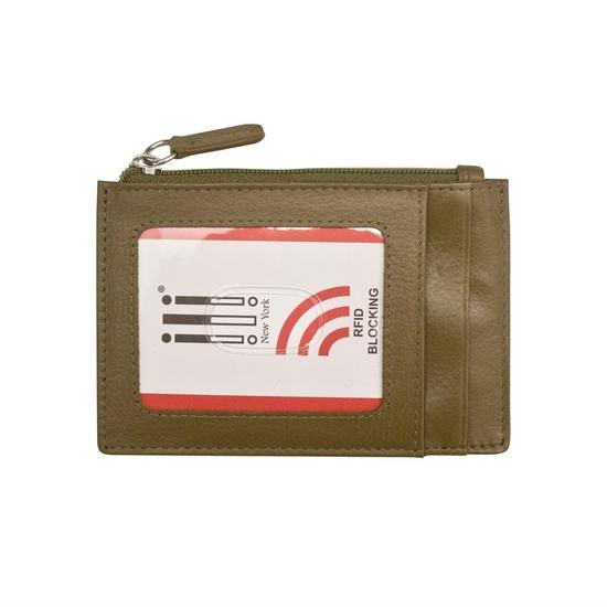 Olive Leather Credit Card Holder