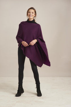 Wine Reversible Poncho