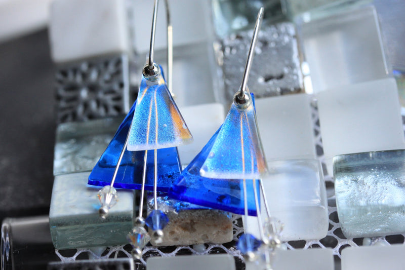 Blue Dichroic Angle Earring