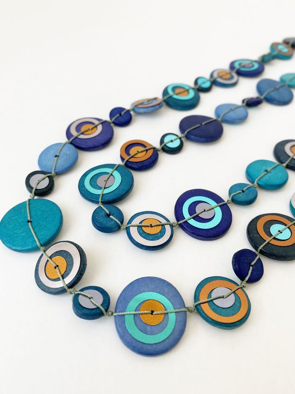 Royal & Teal Wood Necklace