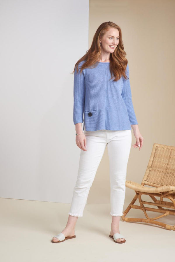 Denim Cotton Rib Sweater
