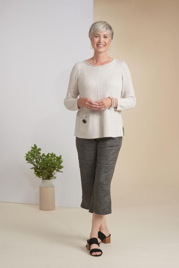 Oatmeal Cotton Rib Sweater