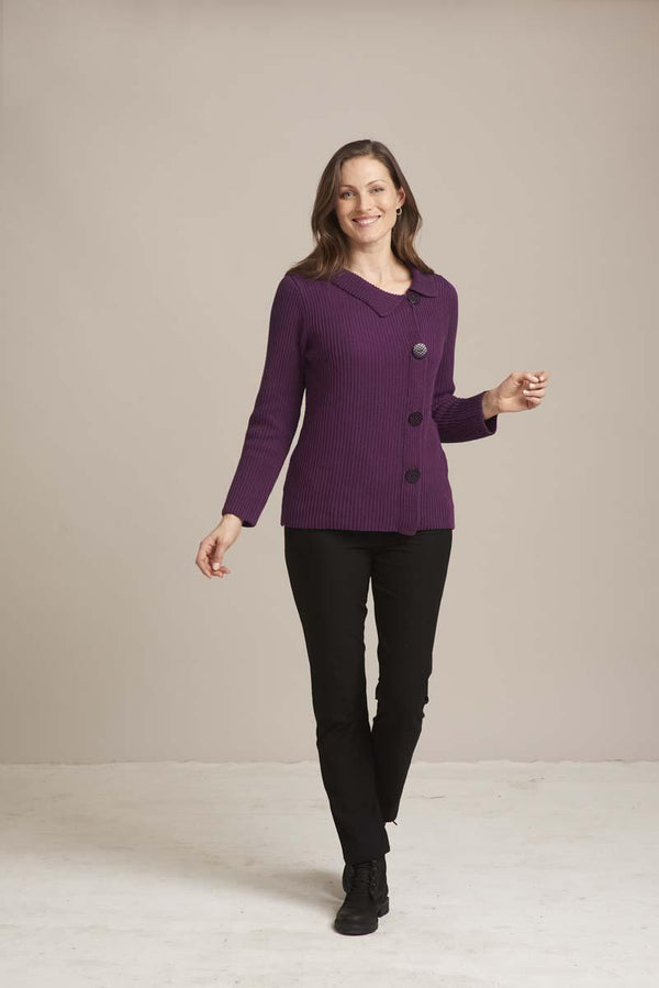 Eggplant Side Button Pullover