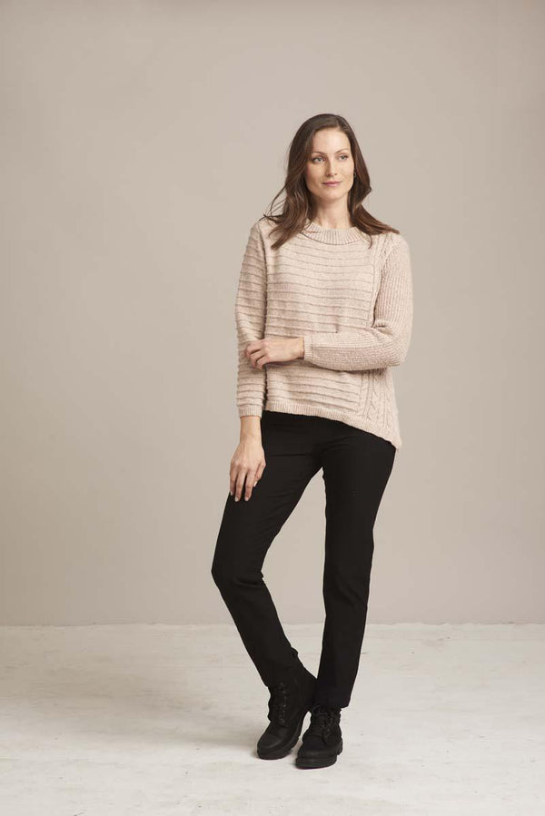 Oatmeal Mix Diagonal Cable Sweater
