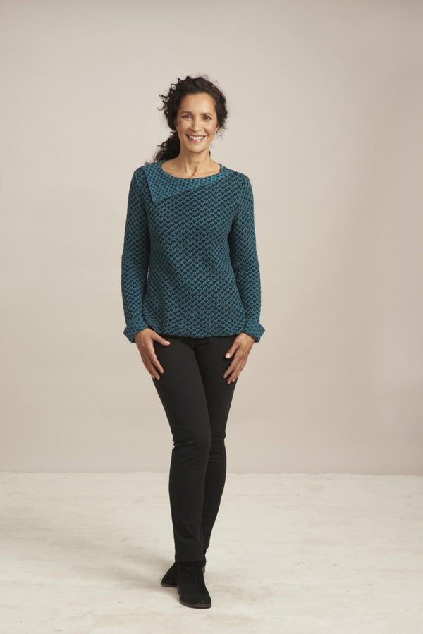 Teal Lattice Sweater