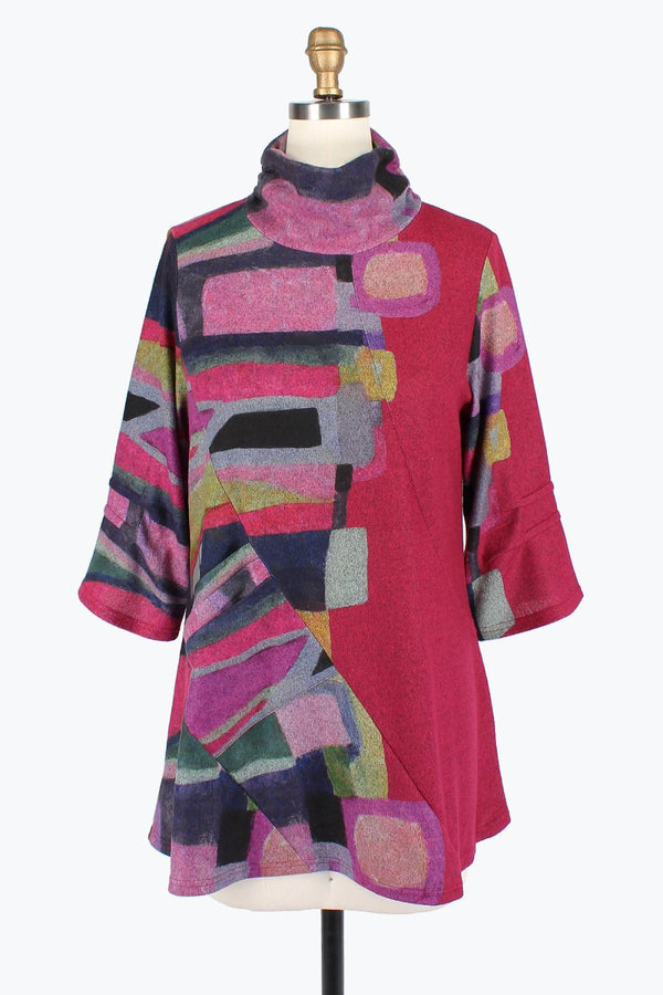 Geometric Fuscia Turtleneck Tunic