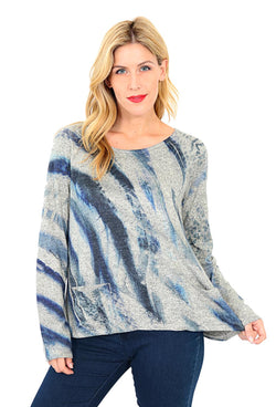 Indigo Feather Sweater Top