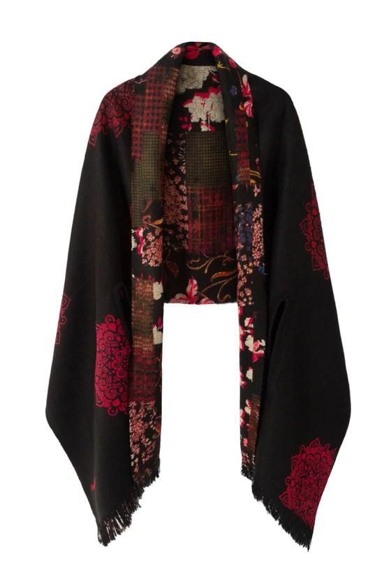 Reversible Floral Poncho
