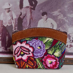 Floral Huipile & Leather Coin