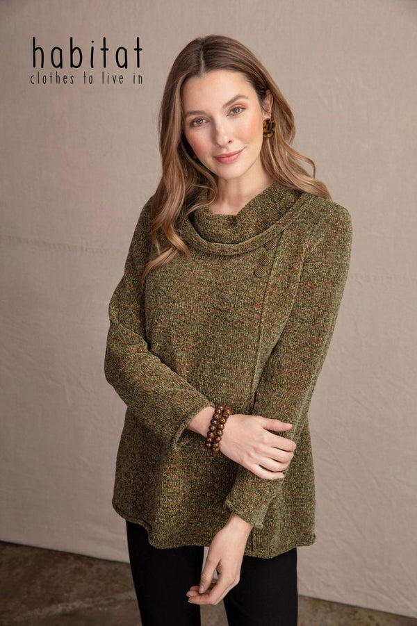 Chenille Cowl Tunic Sweater