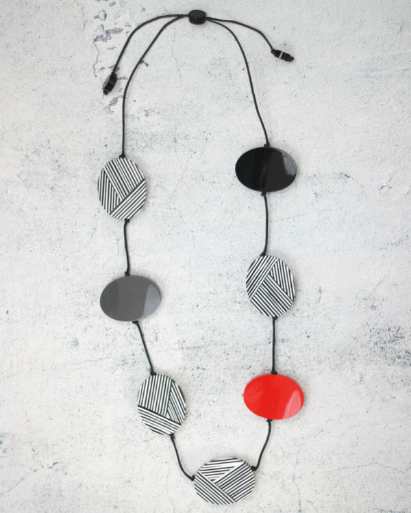 Black, White & Red Oval Necklace