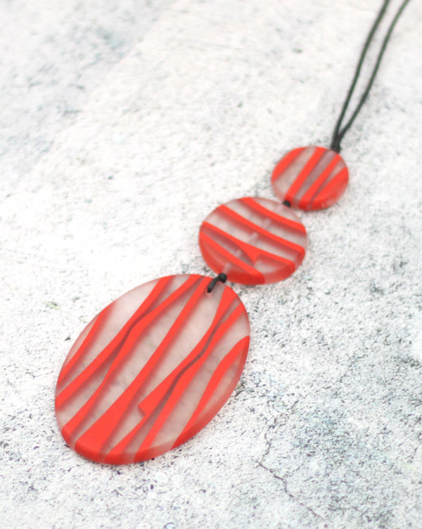 Red Resin Oval Necklace