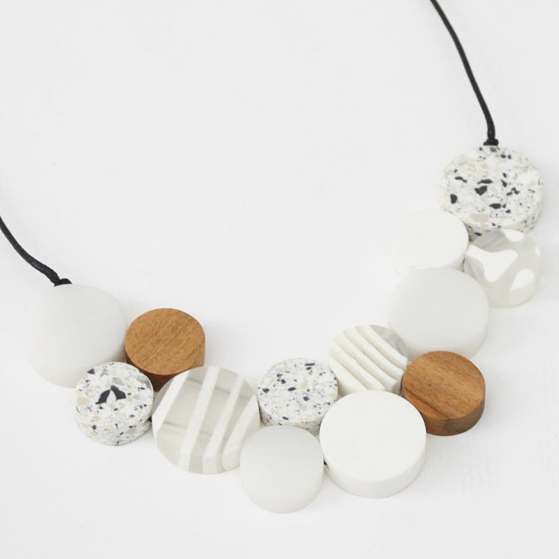White Mixed Media Necklace