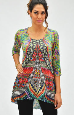 Colorful Hi Lo  Tunic Top