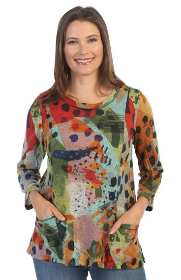 Pop Art Sweater Pocket Top