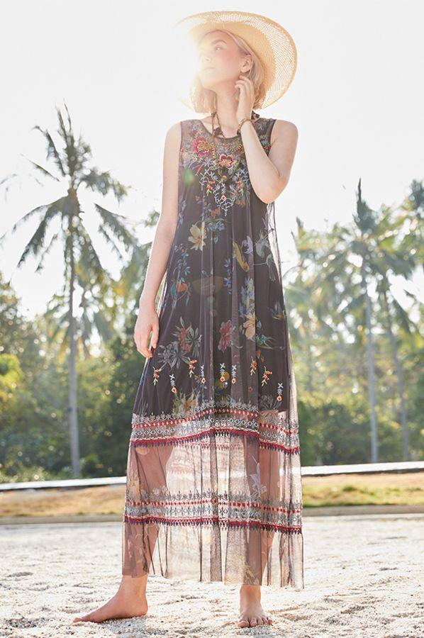 Embroidered Maxi Mesh Dress