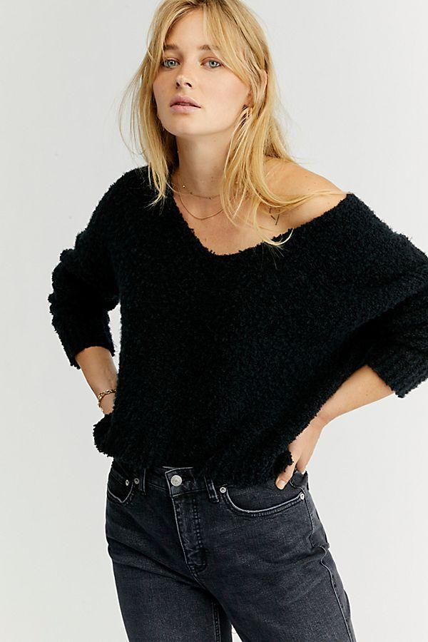Black Cozy V Neck
