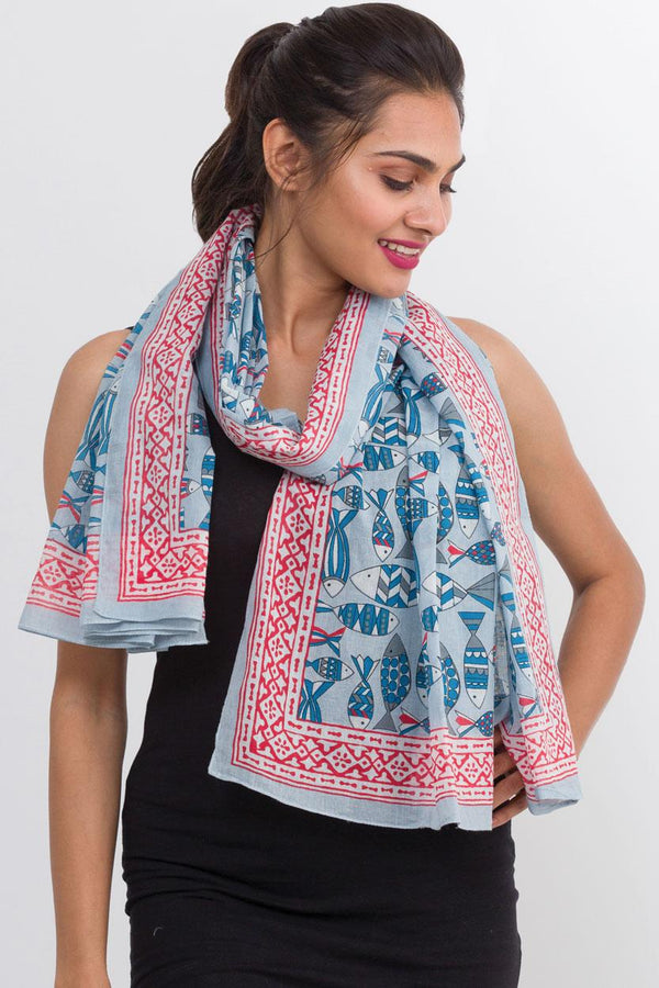 Aqua Fish Cotton Block Scarf