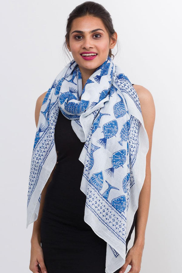 Indigo Fish Cotton Block Scarf
