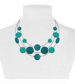3 Layer Wooden Turquoise Disc Necklace