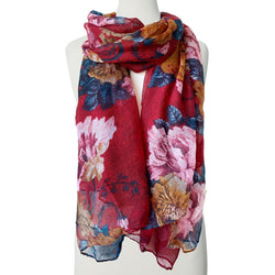 Red Fall Floral Scarf