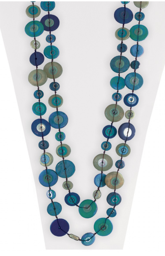 Teal/Blue Wooden Sequin Necklace