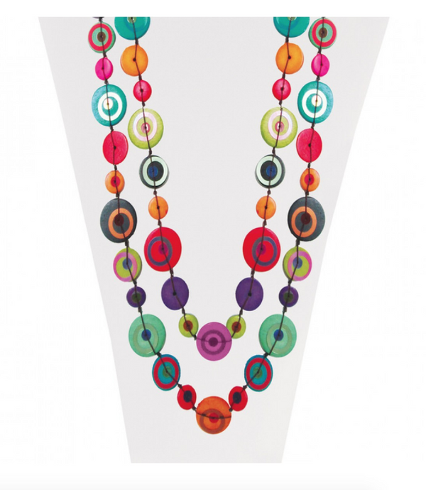 Multi-color Wood Discs Necklace