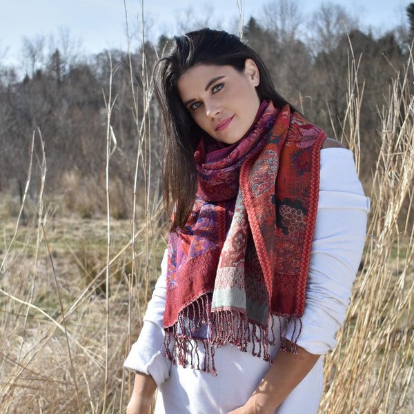 Red Floral Jacquard Wool Scarf