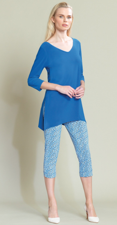Dazzeling Blue Side Vent Tunic