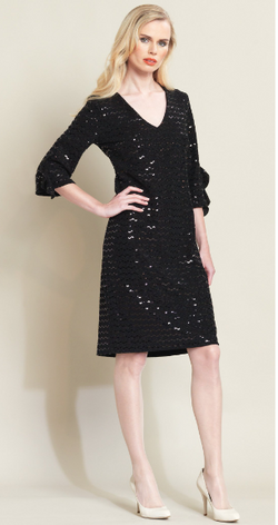 Black Shimmer Ruffle Sleeve V Neck Dress