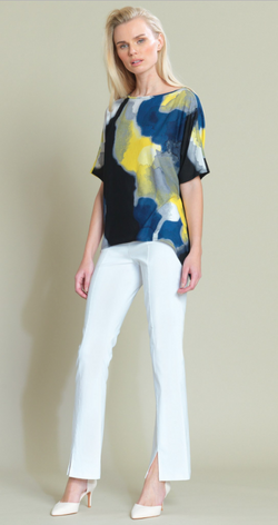 Watercolor Print Loose Cut Crepe Top