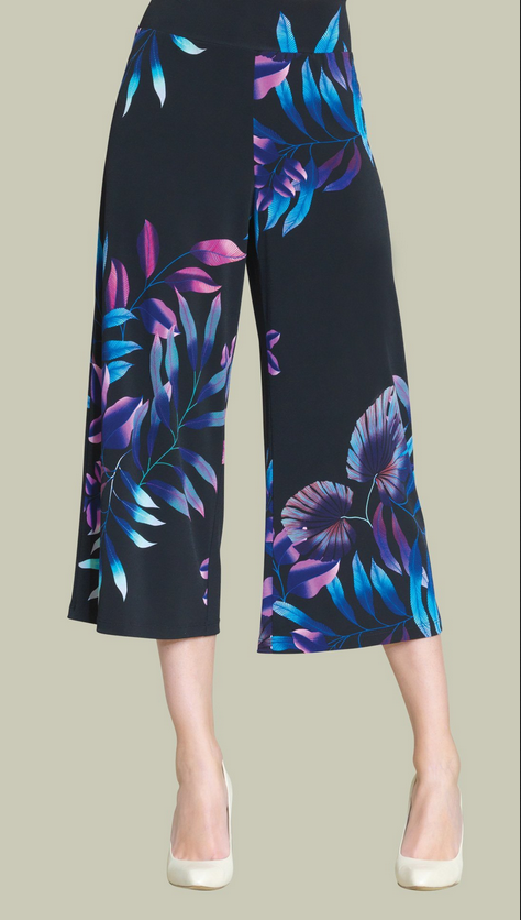 Tropical Leaf Pull On Gaucho Pants