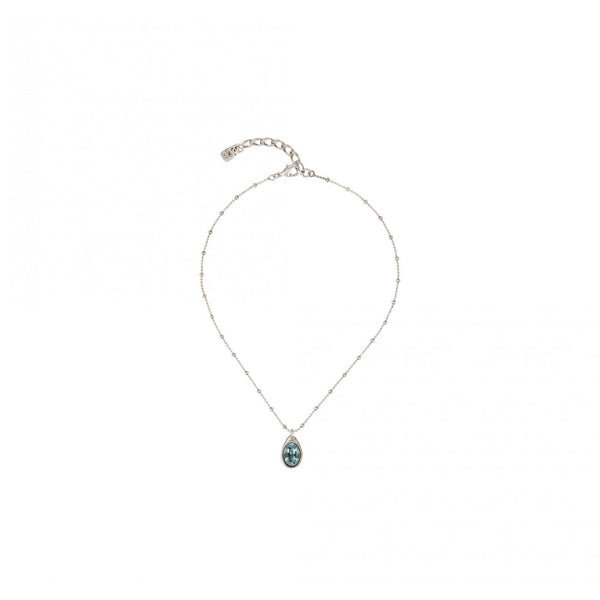 Short Silver Blue Crystal Drop Necklace