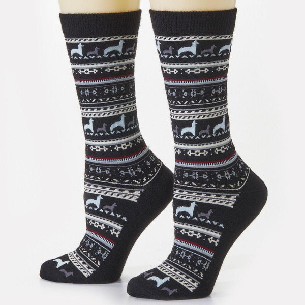 Black Alpaca Crew Socks