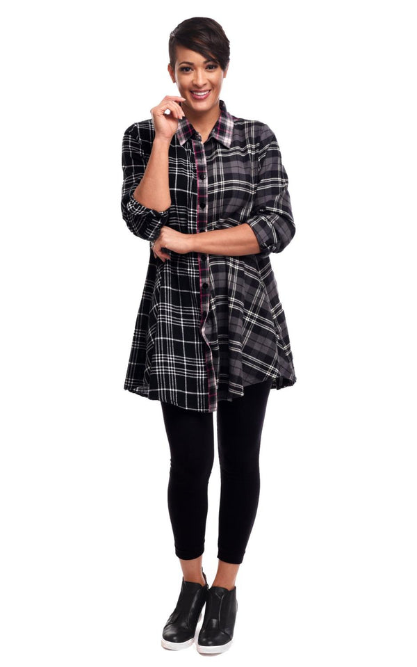 Mixed Up Plaid Swing Shirt