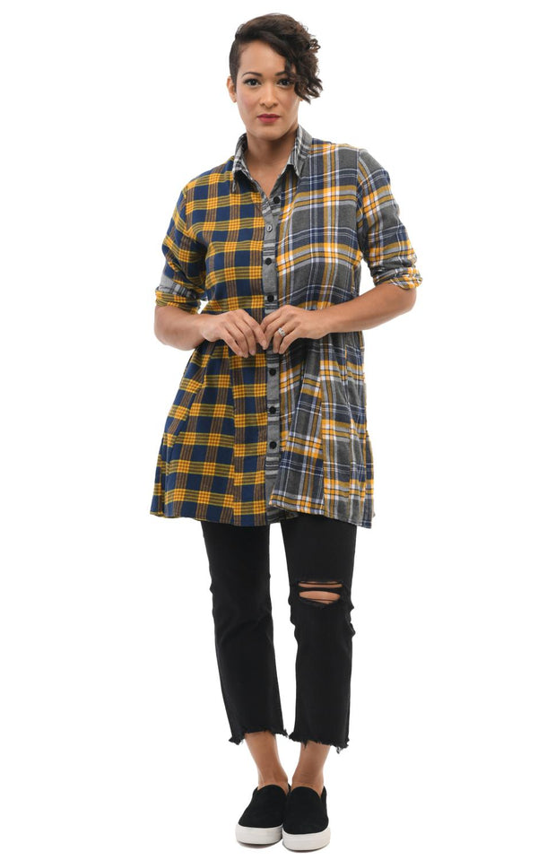 Golden Plaid Pocket Tunic