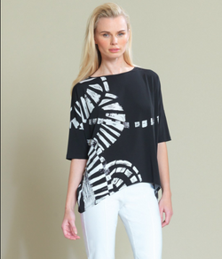 Track Print Tipped Hem Top