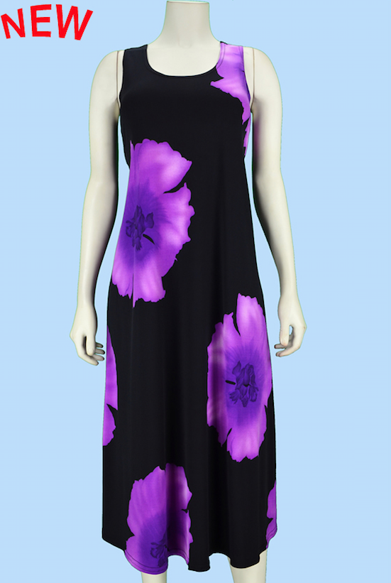 Purple Poppy Midi Dress