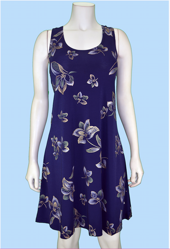 Gold Scroll Navy Dress