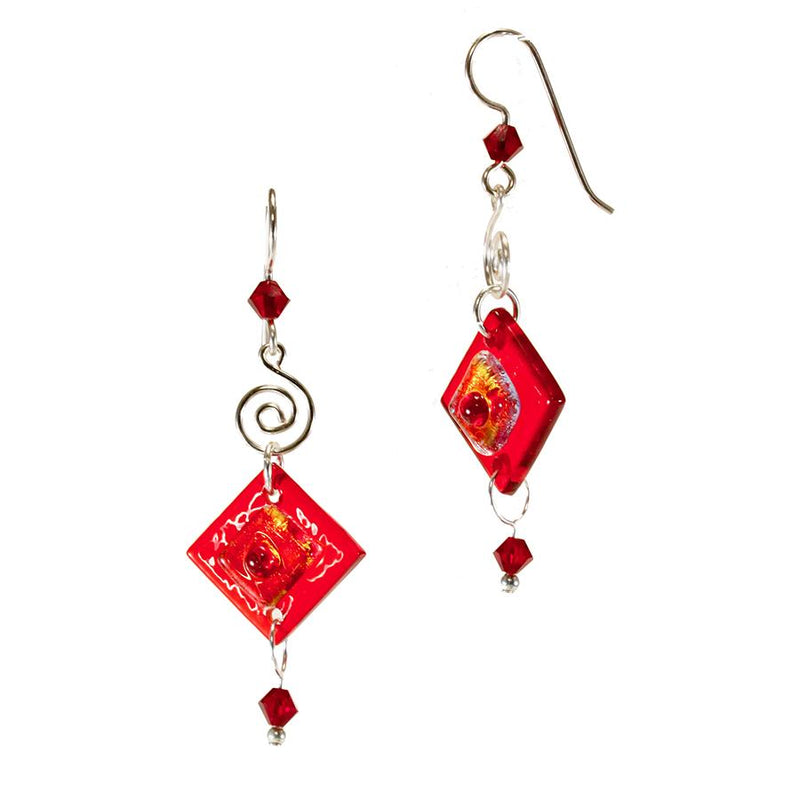 Reds Dichroic Glass Earring