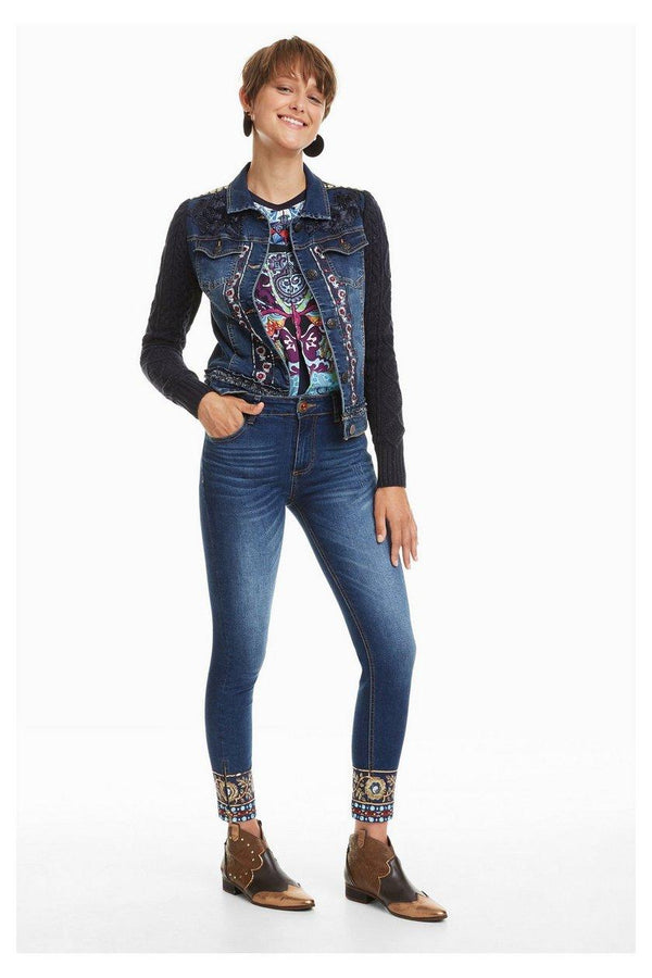 Embroidered Sequins Cuff Jeans