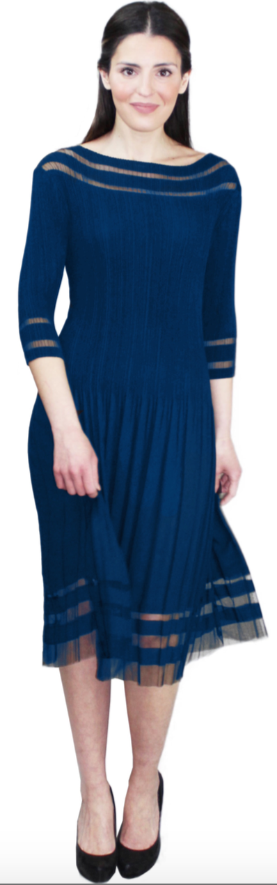 Navy Illusion Dress