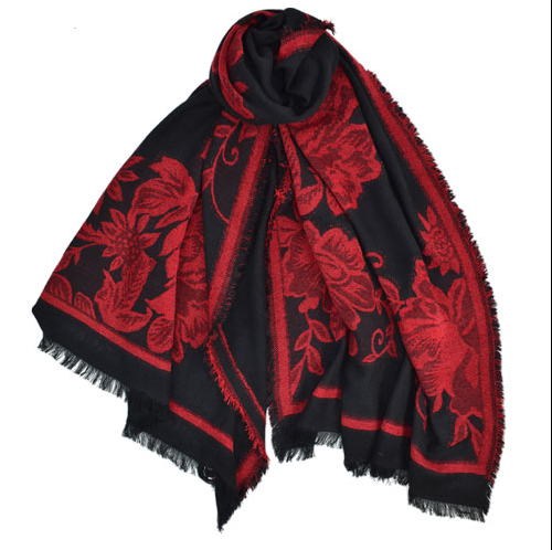 Red and Black Floral Scarf