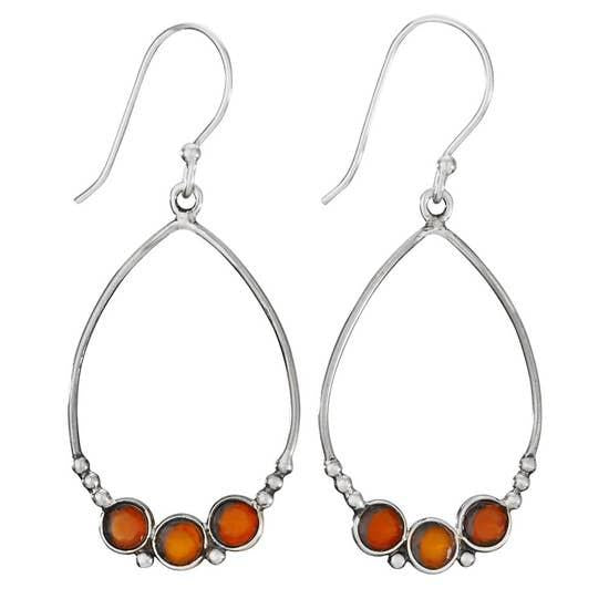 Three Amigos Carnelian Sterling Earrings