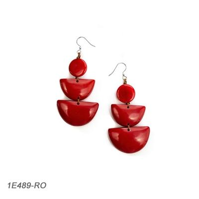 Red Tagua Pyramid Earring