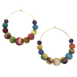 Large Kantha Hoop Earring